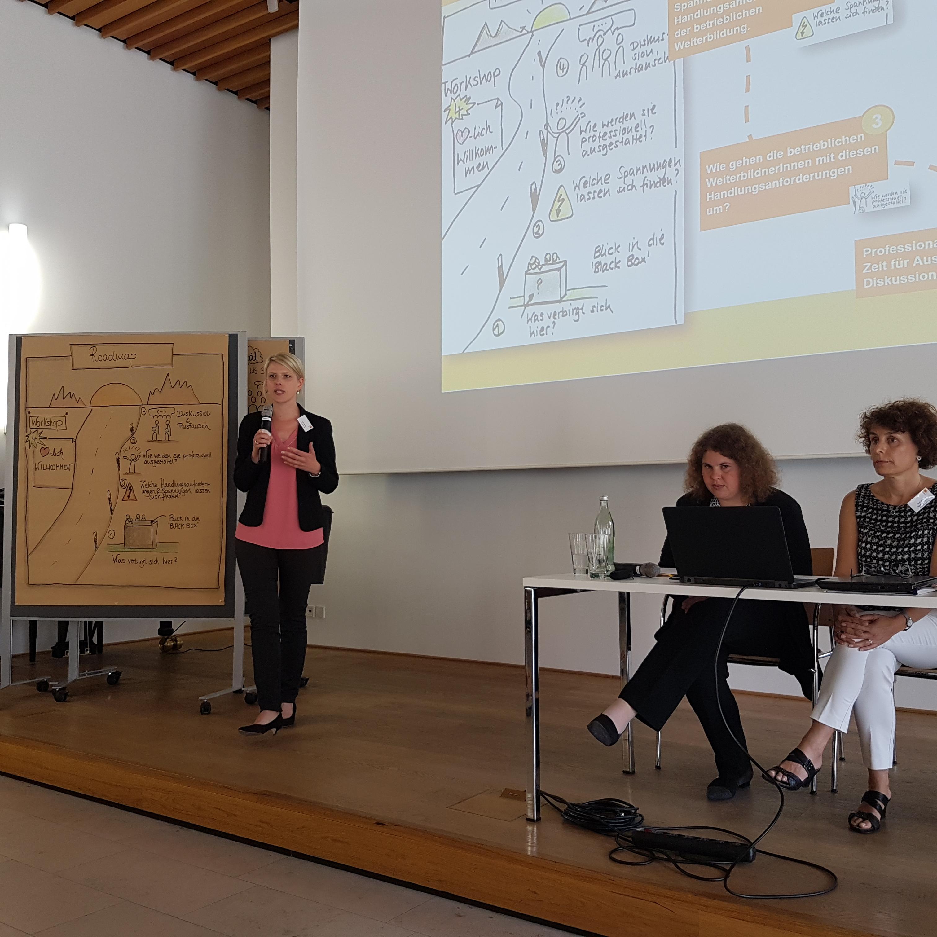 Julia Nährig präsentiert Workshop IV (r. im Bild: I.Schüßler, R. Egentenmeyer)